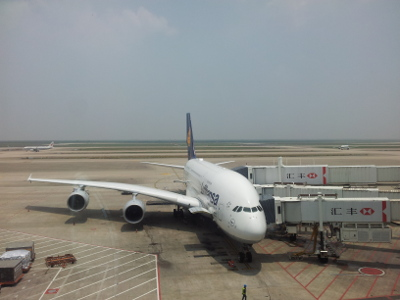 Airbus A380 in Shanghai-Pudong