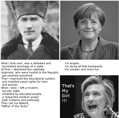 Atatürk, Merkel and Clinton, english version