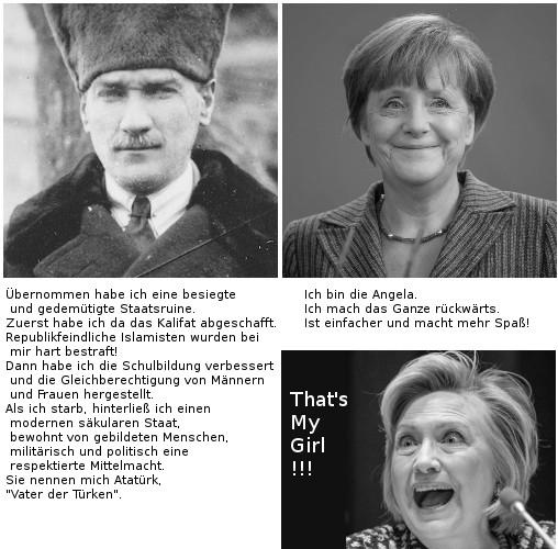 Atatürk, Merkel und Clinton