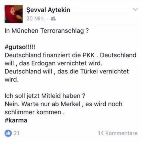 Erdoganistin freut sich über Anschlag von München