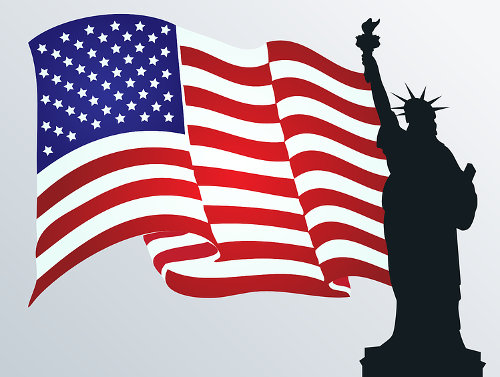 Flagge der USA mit Freiheitsstatue