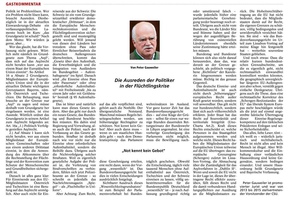 Artikel von Peter Gauweiler