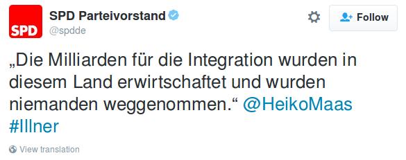 SPD: Die Integrationskosten wurden niemandem weggenommen