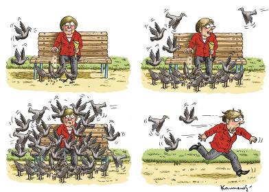Merkel und die Tauben