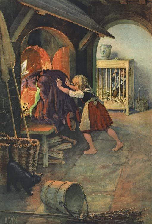 Otto Kubel: Gretel schiebt die Hexe in den Ofen