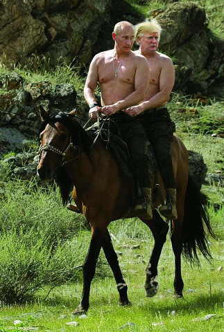 Putin und Trump auf einem Pferd