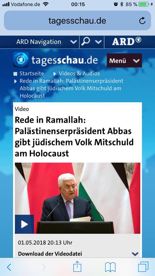 Tagesschau gibt Abbas' Antisemitismus unkommentiert weiter