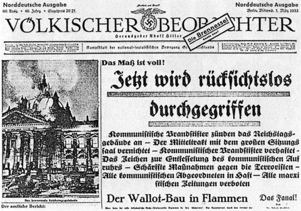Völkischer Beobachter zum Reichstagsbrand