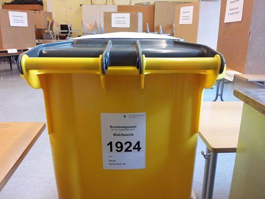 Wahlurne, sieht aus wie gelbe Tonne